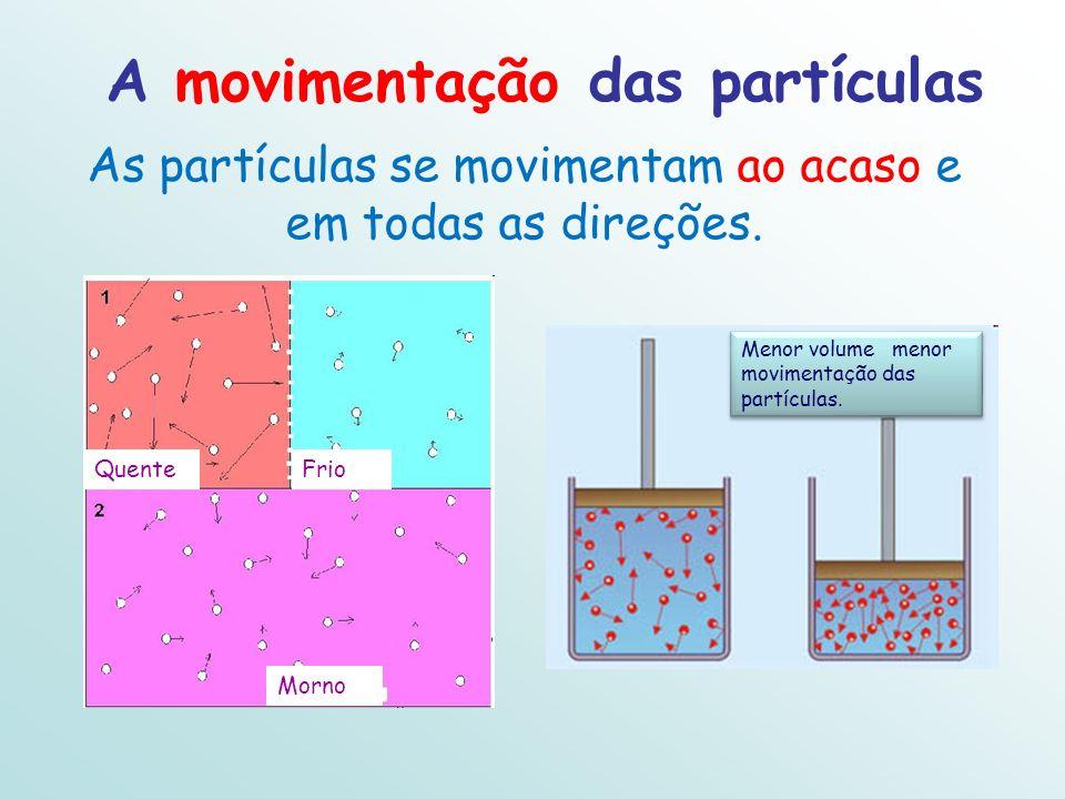 A movimentação das partículas As partículas se movimentam ao acaso e em todas as direções. Menor volume menor movimentação das partículas. QuenteFrio