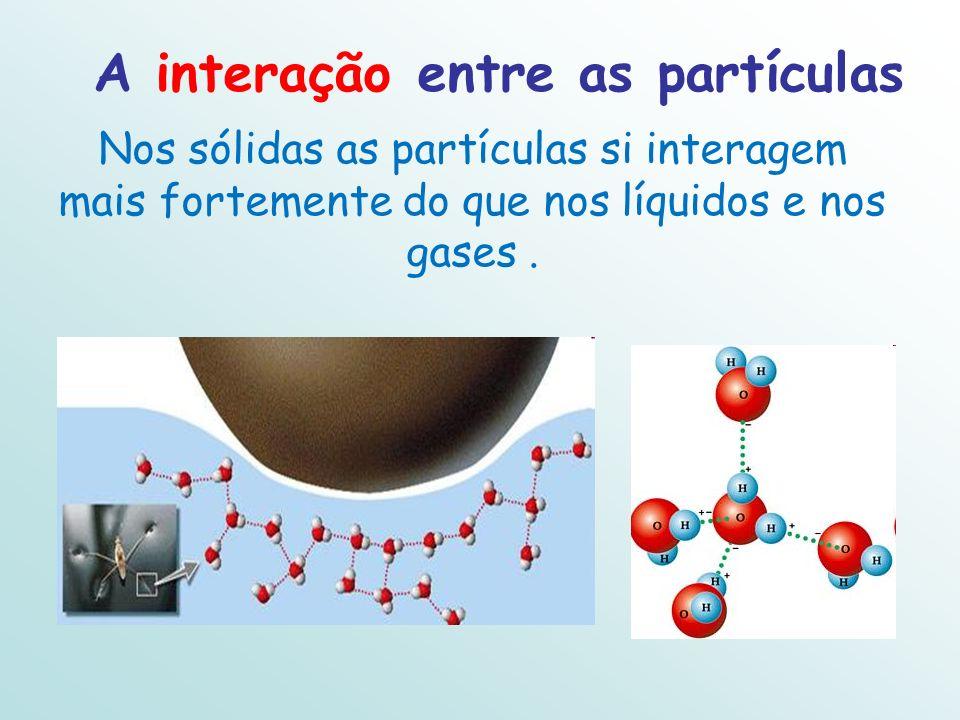 A interação entre as partículas Nos sólidas as partículas si interagem mais fortemente do que nos líquidos e nos gases.