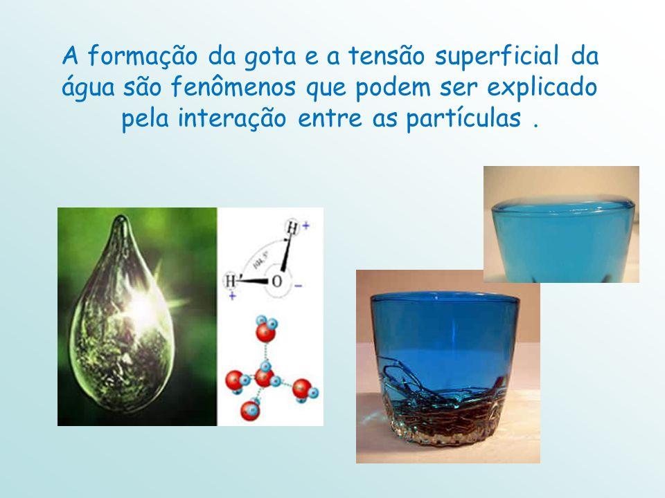 A formação da gota e a tensão superficial da água são fenômenos que podem ser explicado pela interação entre as partículas.