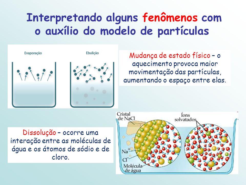 Interpretando alguns fenômenos com o auxílio do modelo de partículas Mudança de estado físico – o aquecimento provoca maior movimentação das partícula