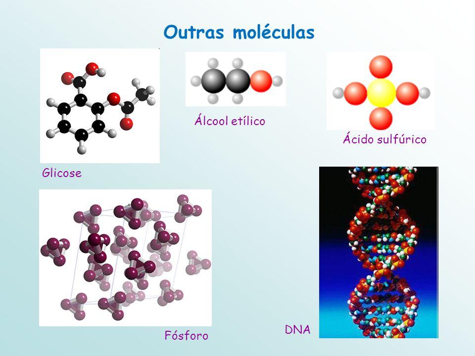 Glicose DNA Outras moléculas Fósforo Álcool etílico Ácido sulfúrico