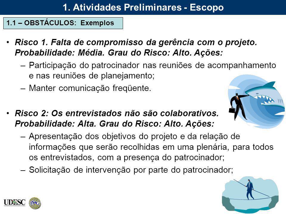 1.1 – OBSTÁCULOS: Exemplos 1. Atividades Preliminares - Escopo Risco 1. Falta de compromisso da gerência com o projeto. Probabilidade: Média. Grau do