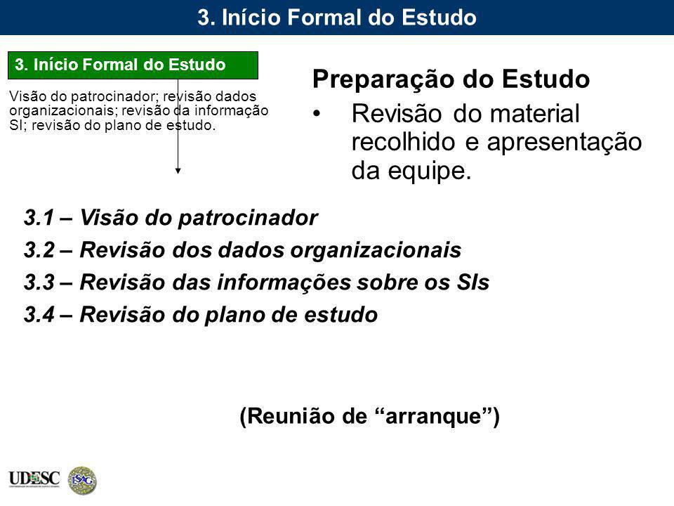 3. Início Formal do Estudo Preparação do Estudo Revisão do material recolhido e apresentação da equipe. 3.1 – Visão do patrocinador 3.2 – Revisão dos