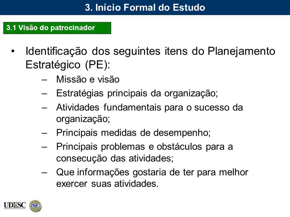 3. Início Formal do Estudo Identificação dos seguintes itens do Planejamento Estratégico (PE): –Missão e visão –Estratégias principais da organização;