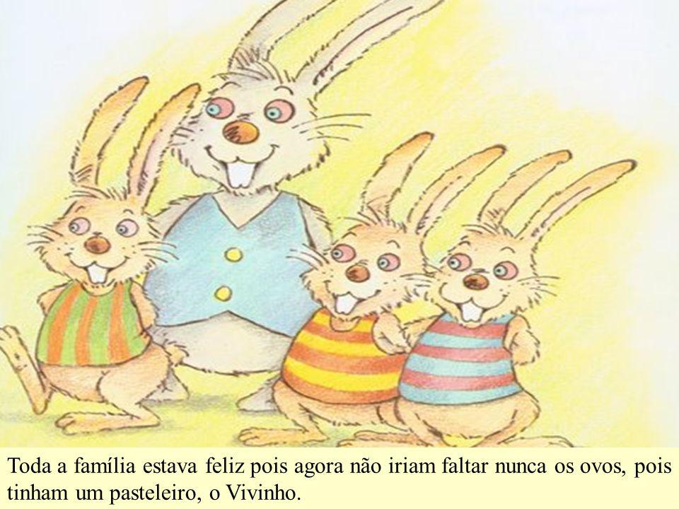Toda a família estava feliz pois agora não iriam faltar nunca os ovos, pois tinham um pasteleiro, o Vivinho.