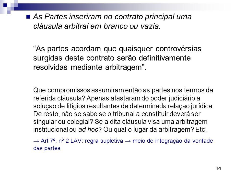 14 As Partes inseriram no contrato principal uma cláusula arbitral em branco ou vazia. As partes acordam que quaisquer controvérsias surgidas deste co