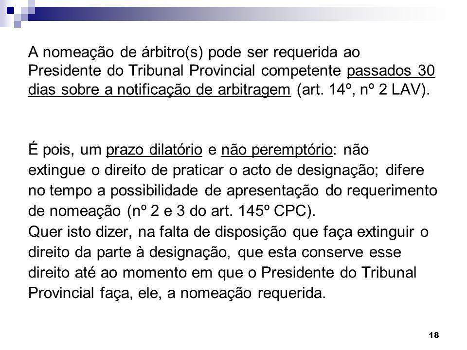 18 A nomeação de árbitro(s) pode ser requerida ao Presidente do Tribunal Provincial competente passados 30 dias sobre a notificação de arbitragem (art