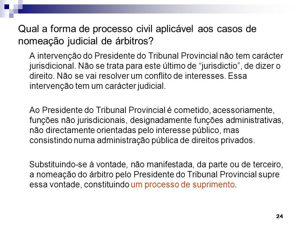 24 Qual a forma de processo civil aplicável aos casos de nomeação judicial de árbitros? A intervenção do Presidente do Tribunal Provincial não tem car