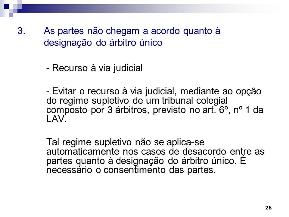 25 3. As partes não chegam a acordo quanto à designação do árbitro único - Recurso à via judicial - Evitar o recurso à via judicial, mediante ao opção