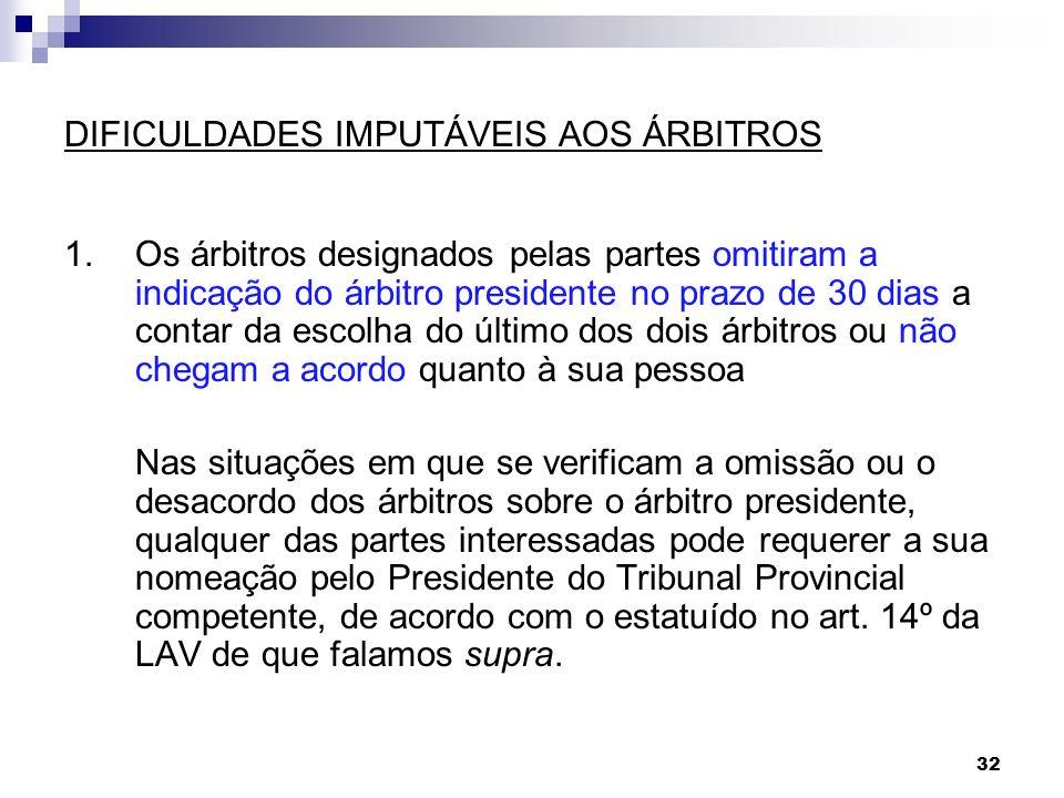 32 DIFICULDADES IMPUTÁVEIS AOS ÁRBITROS 1.Os árbitros designados pelas partes omitiram a indicação do árbitro presidente no prazo de 30 dias a contar