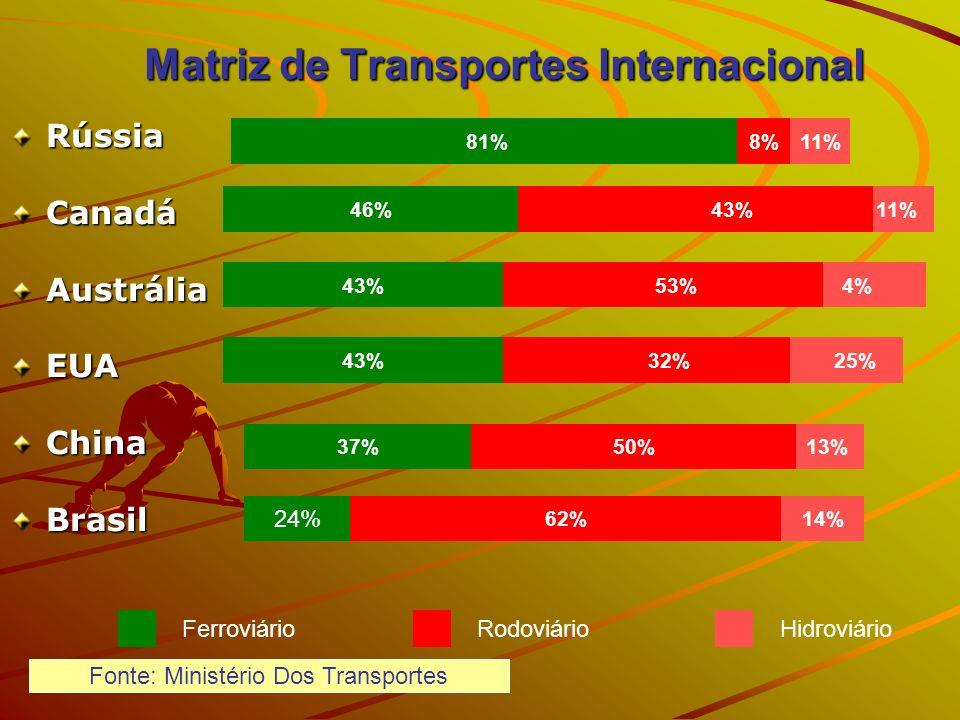 Matriz de Transportes Internacional 13% 25% 4% 11% 81% 43%46% 53%43% 32%43% 50%37% 62%14% 24% 8%11% Ferroviário Rodoviário Hidroviário RússiaCanadáAus