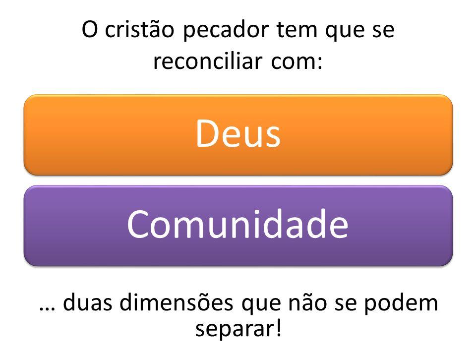 O cristão pecador tem que se reconciliar com: DeusComunidade … duas dimensões que não se podem separar!