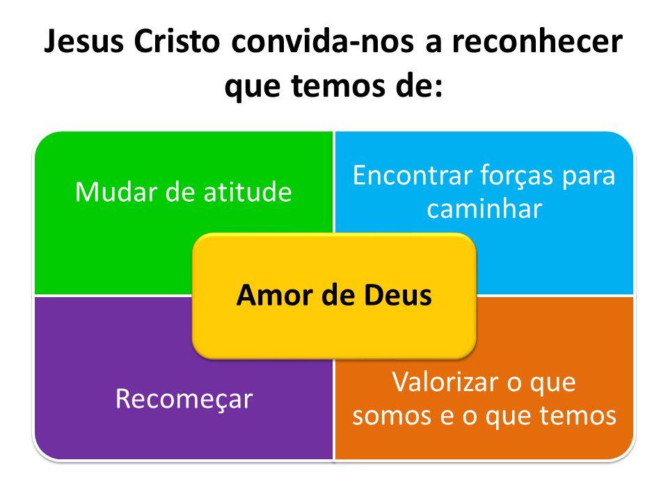 Jesus Cristo convida-nos a reconhecer que temos de: Mudar de atitude Encontrar forças para caminhar Recomeçar Valorizar o que somos e o que temos Amor