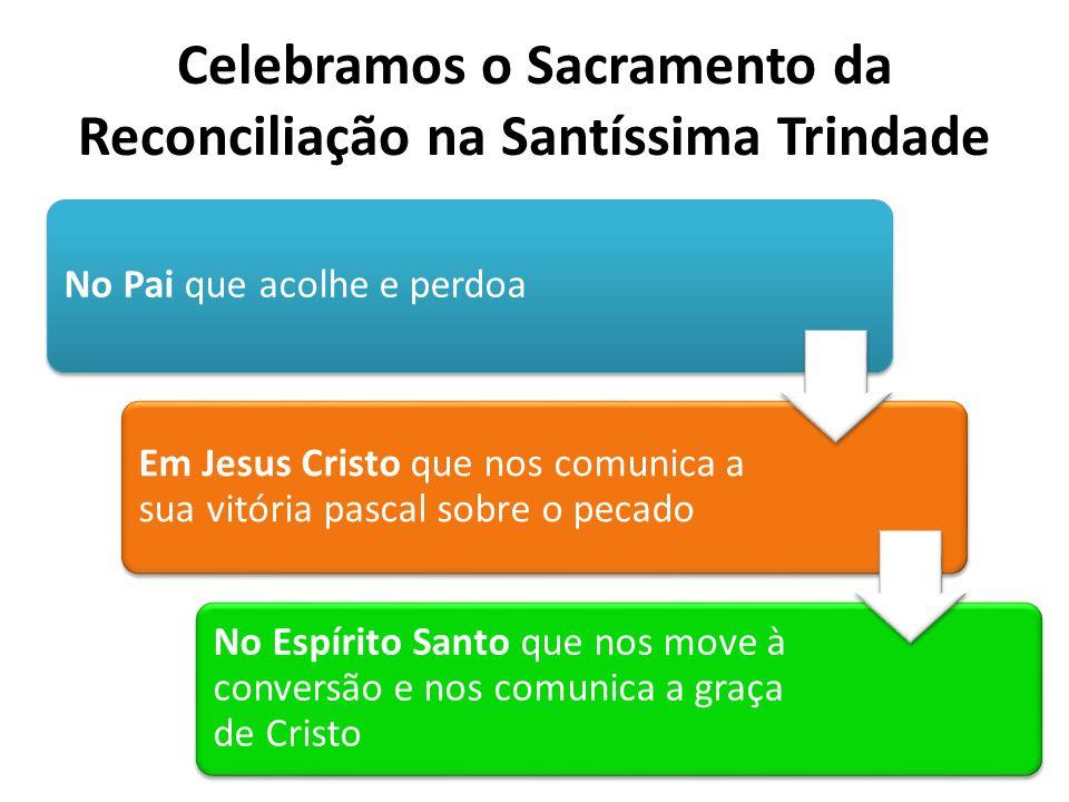 Celebramos o Sacramento da Reconciliação na Santíssima Trindade No Pai que acolhe e perdoa Em Jesus Cristo que nos comunica a sua vitória pascal sobre