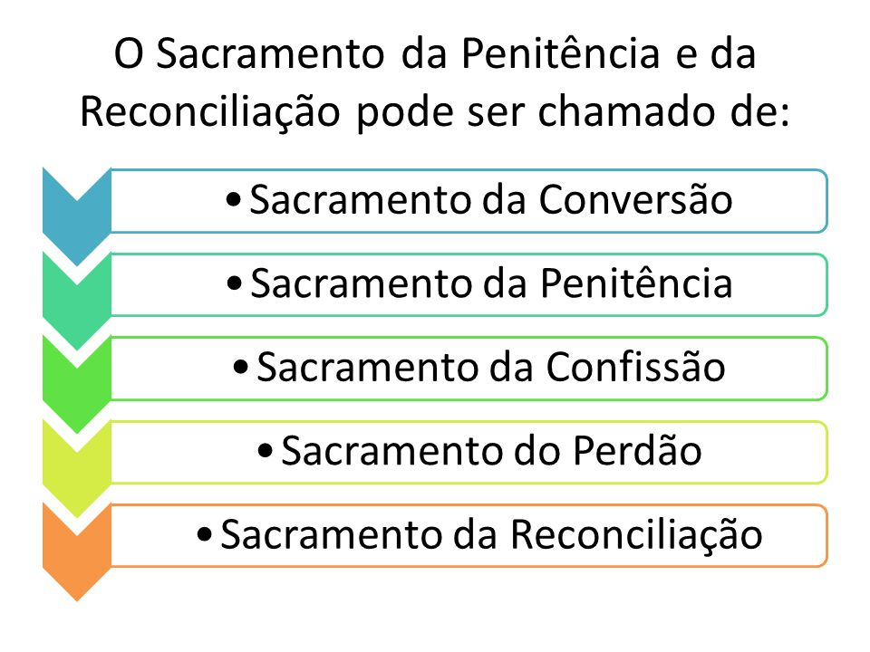 O Sacramento da Penitência e da Reconciliação pode ser chamado de: Sacramento da ConversãoSacramento da PenitênciaSacramento da ConfissãoSacramento do