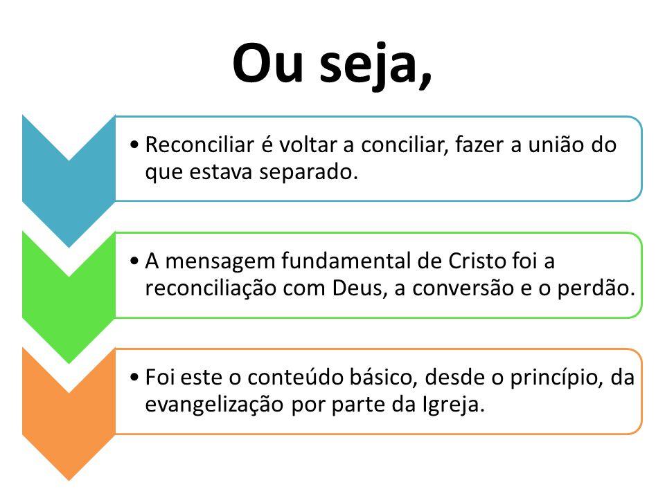 Ou seja, Reconciliar é voltar a conciliar, fazer a união do que estava separado. A mensagem fundamental de Cristo foi a reconciliação com Deus, a conv