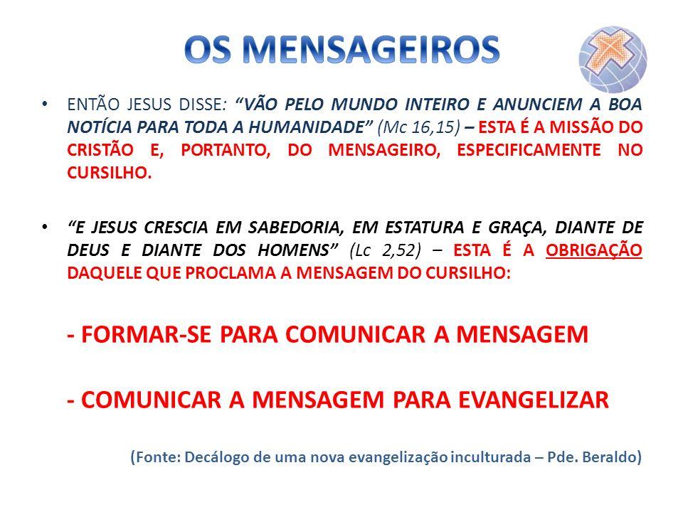 ENTÃO JESUS DISSE: VÃO PELO MUNDO INTEIRO E ANUNCIEM A BOA NOTÍCIA PARA TODA A HUMANIDADE (Mc 16,15) – ESTA É A MISSÃO DO CRISTÃO E, PORTANTO, DO MENS