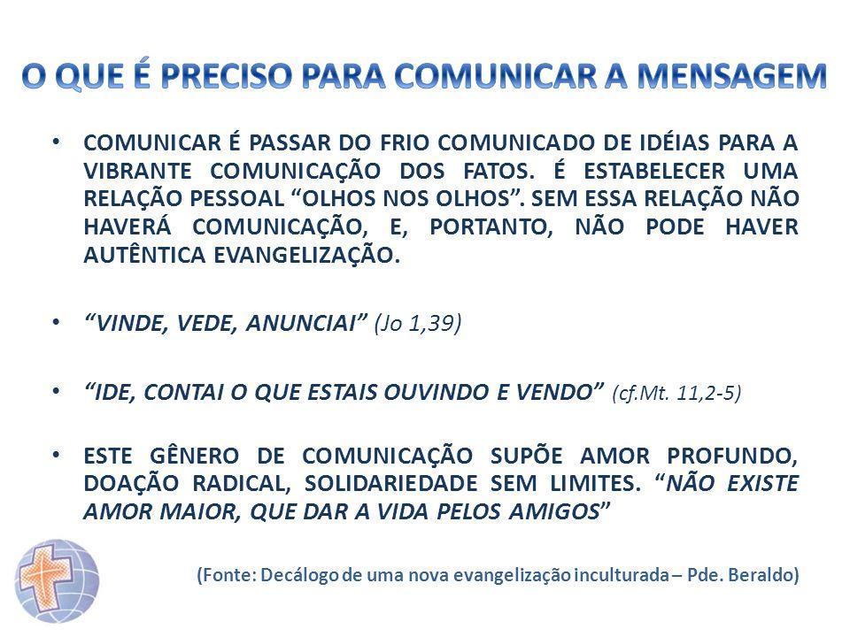 COMUNICAR É PASSAR DO FRIO COMUNICADO DE IDÉIAS PARA A VIBRANTE COMUNICAÇÃO DOS FATOS. É ESTABELECER UMA RELAÇÃO PESSOAL OLHOS NOS OLHOS. SEM ESSA REL