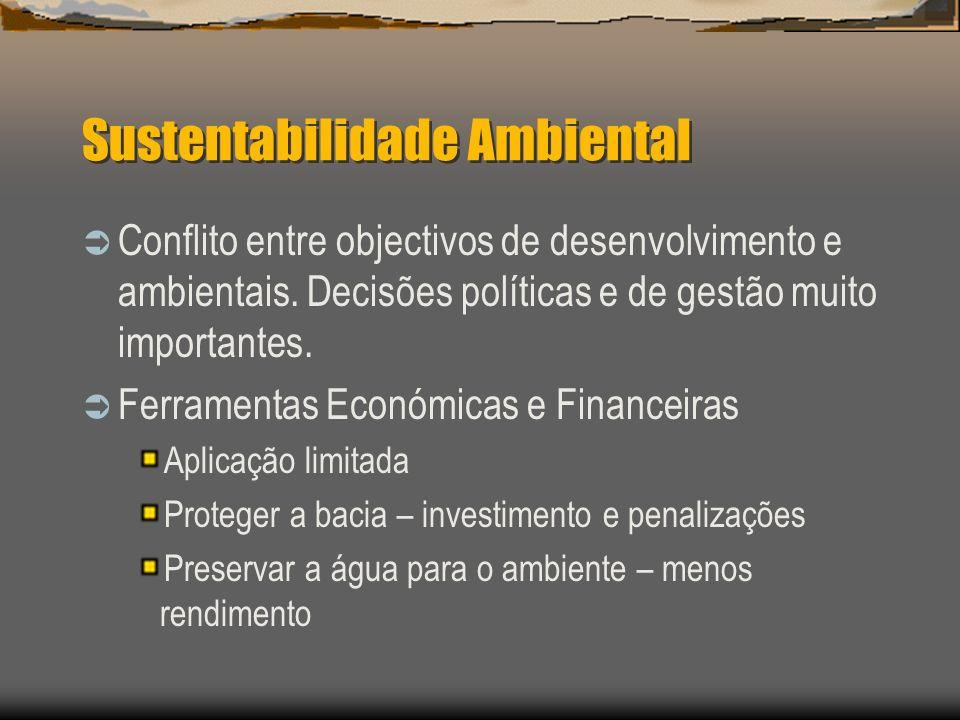 Sustentabilidade Ambiental Conflito entre objectivos de desenvolvimento e ambientais. Decisões políticas e de gestão muito importantes. Ferramentas Ec