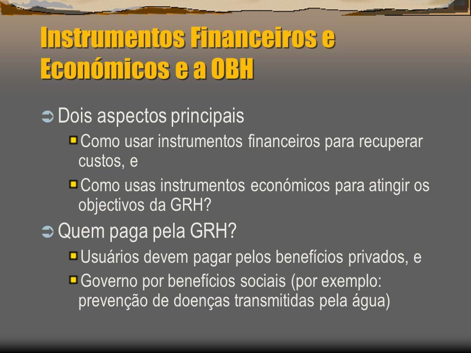 Instrumentos Financeiros e Económicos e a OBH Dois aspectos principais Como usar instrumentos financeiros para recuperar custos, e Como usas instrumen