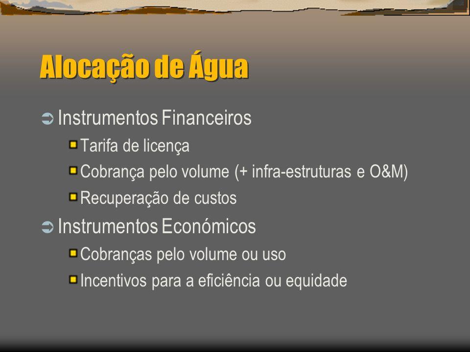 Alocação de Água Instrumentos Financeiros Tarifa de licença Cobrança pelo volume (+ infra-estruturas e O&M) Recuperação de custos Instrumentos Económi