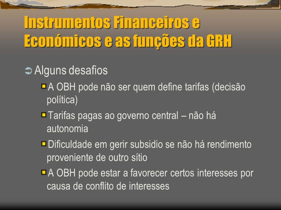 Instrumentos Financeiros e Económicos e as funções da GRH Alguns desafios A OBH pode não ser quem define tarifas (decisão política) Tarifas pagas ao g