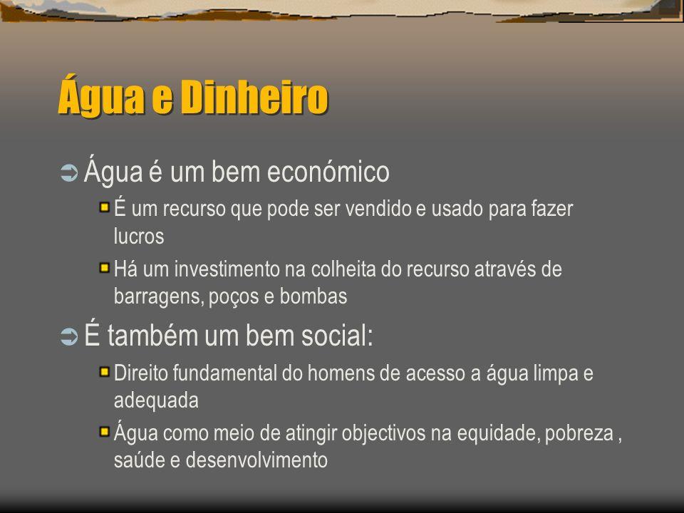 Água e Dinheiro Água é um bem económico É um recurso que pode ser vendido e usado para fazer lucros Há um investimento na colheita do recurso através