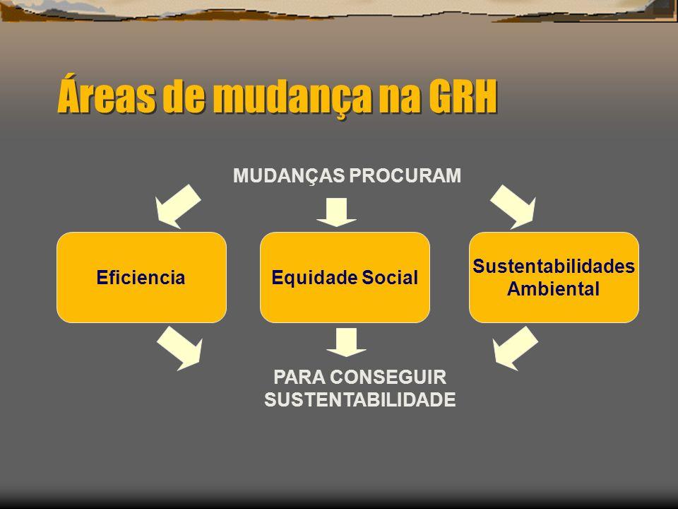 Áreas de mudança na GRH Sustentabilidades Ambiental EficienciaEquidade Social MUDANÇAS PROCURAM PARA CONSEGUIR SUSTENTABILIDADE