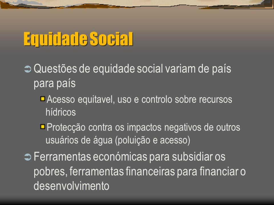 Equidade Social Questões de equidade social variam de país para país Acesso equitavel, uso e controlo sobre recursos hídricos Protecção contra os impa