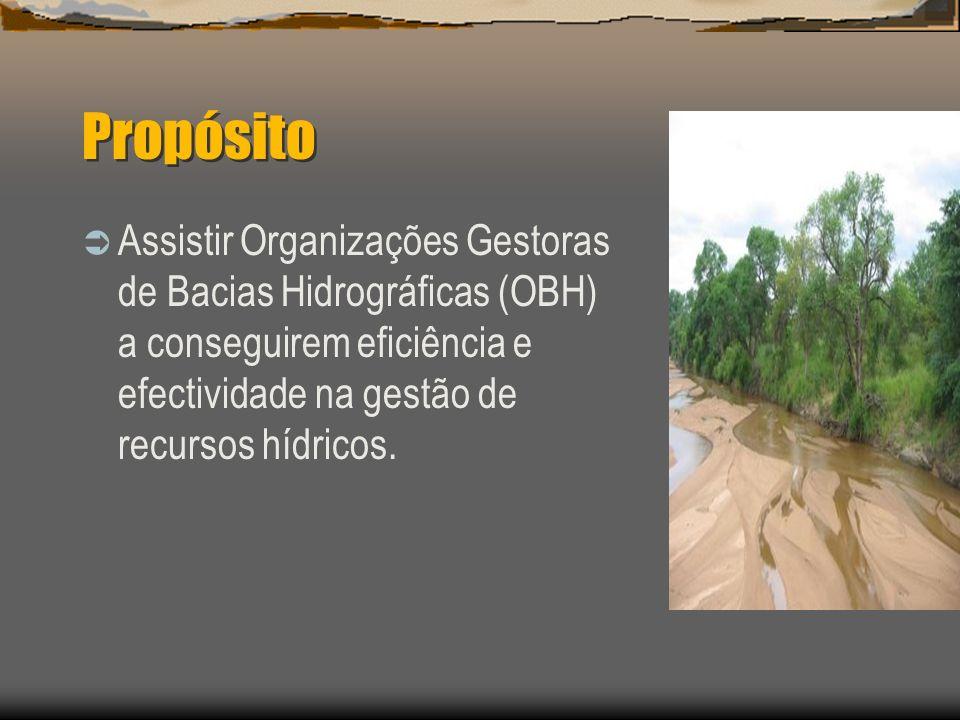 Propósito Assistir Organizações Gestoras de Bacias Hidrográficas (OBH) a conseguirem eficiência e efectividade na gestão de recursos hídricos.