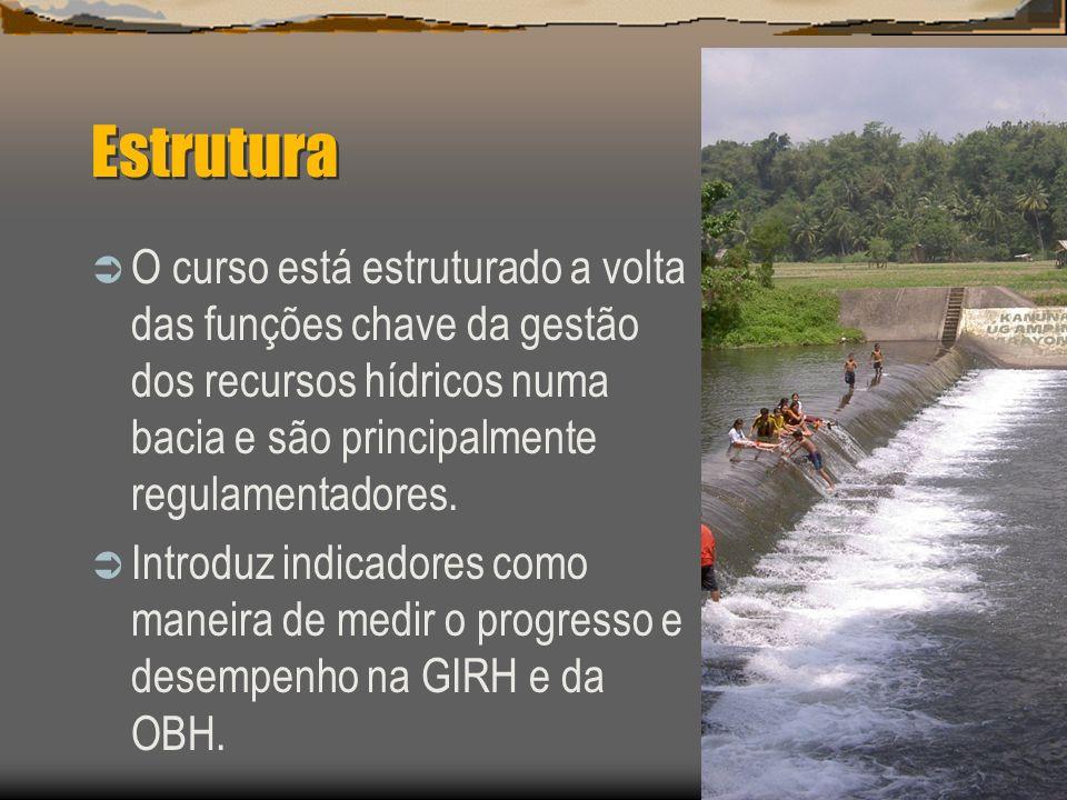 Estrutura O curso está estruturado a volta das funções chave da gestão dos recursos hídricos numa bacia e são principalmente regulamentadores. Introdu