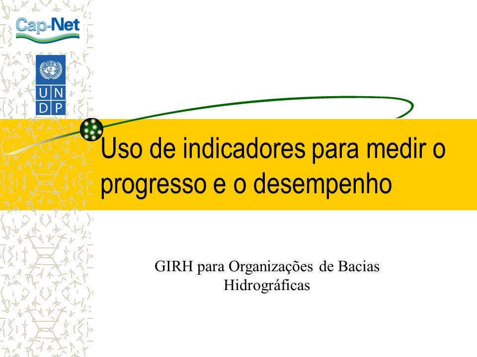 Uso de indicadores para medir o progresso e o desempenho GIRH para Organizações de Bacias Hidrográficas