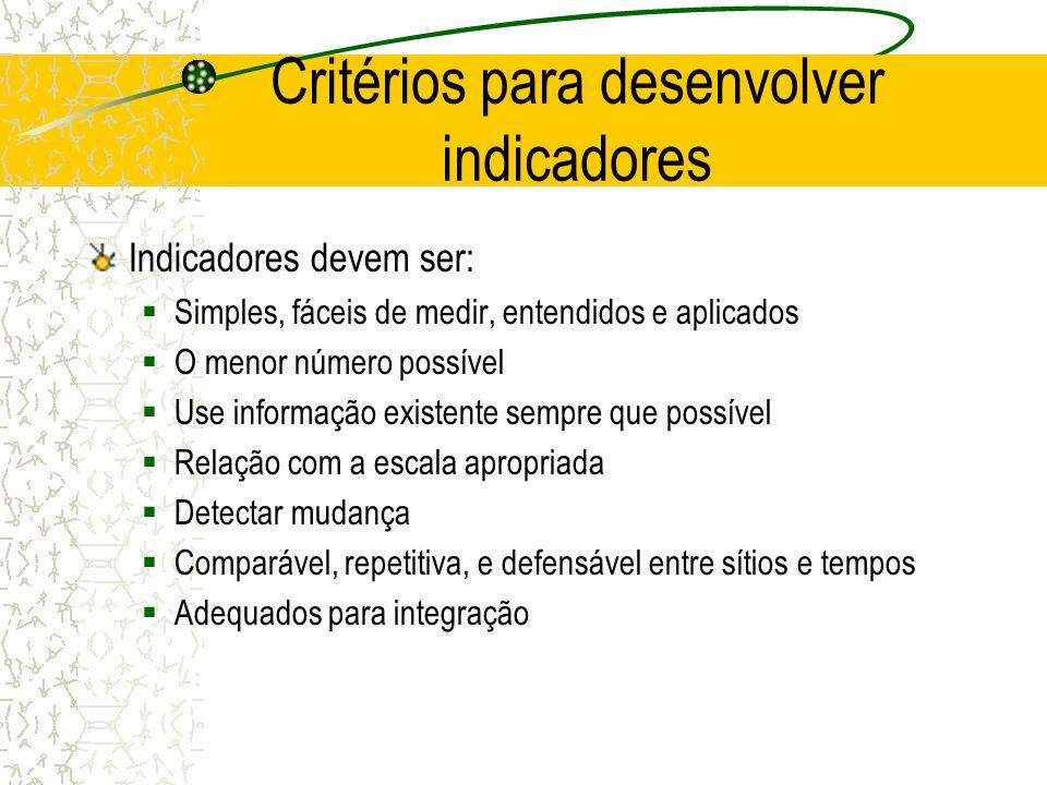 Critérios para desenvolver indicadores Indicadores devem ser: Simples, fáceis de medir, entendidos e aplicados O menor número possível Use informação