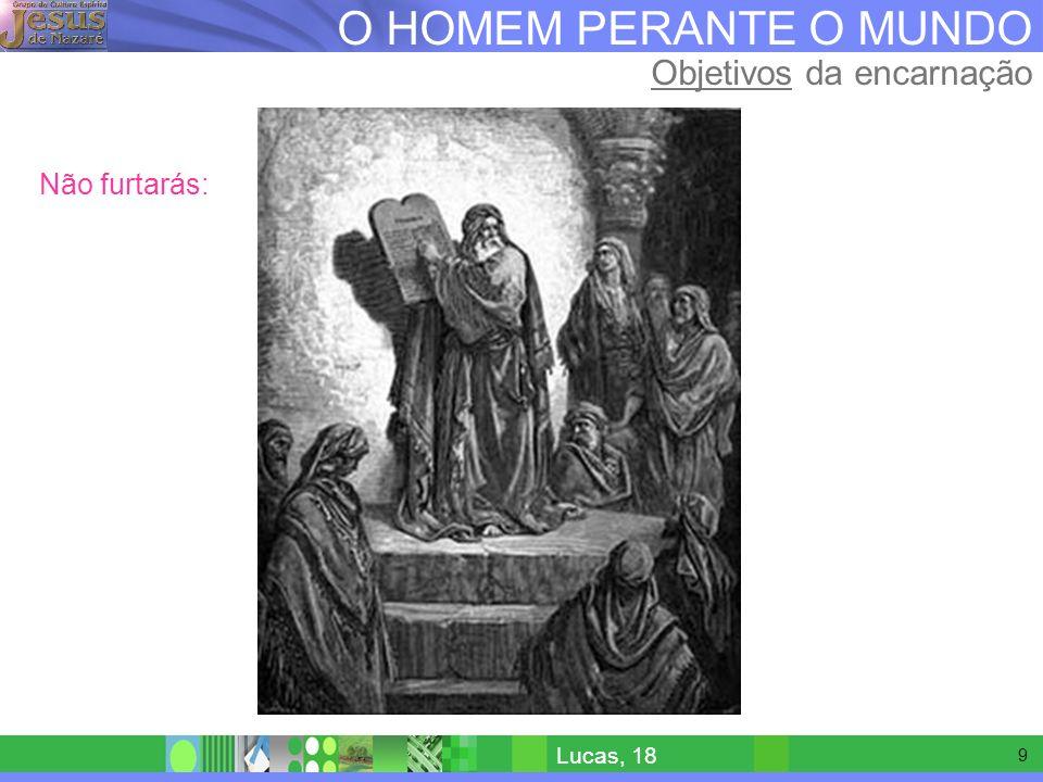 8 O HOMEM PERANTE O MUNDO Objetivos da encarnação Não matarás: Lucas, 18