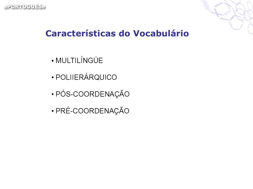 Características do Vocabulário MULTILÍNGÜE POLIIERÁRQUICO PÓS-COORDENAÇÃO PRÉ-COORDENAÇÃO