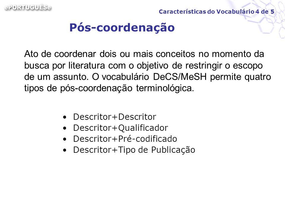 Pós-coordenação Descritor+Descritor Descritor+Qualificador Descritor+Pré-codificado Descritor+Tipo de Publicação Ato de coordenar dois ou mais conceit