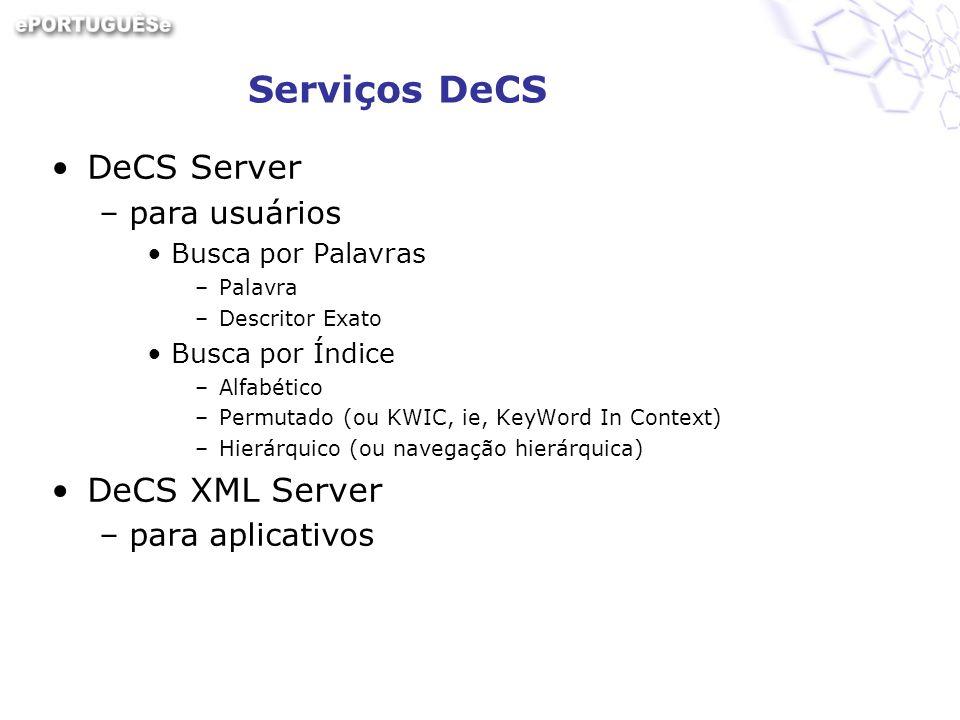Serviços DeCS DeCS Server –para usuários Busca por Palavras –Palavra –Descritor Exato Busca por Índice –Alfabético –Permutado (ou KWIC, ie, KeyWord In