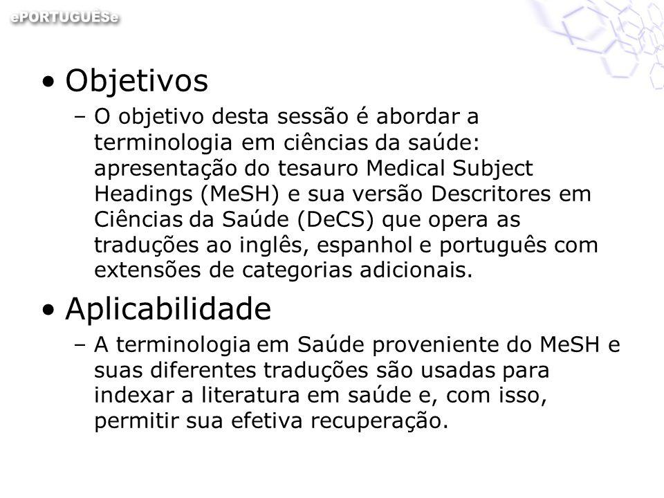 Objetivos –O objetivo desta sessão é abordar a terminologia em ciências da saúde: apresentação do tesauro Medical Subject Headings (MeSH) e sua versão