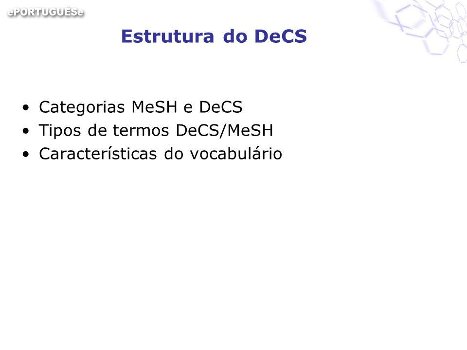 Estrutura do DeCS Categorias MeSH e DeCS Tipos de termos DeCS/MeSH Características do vocabulário
