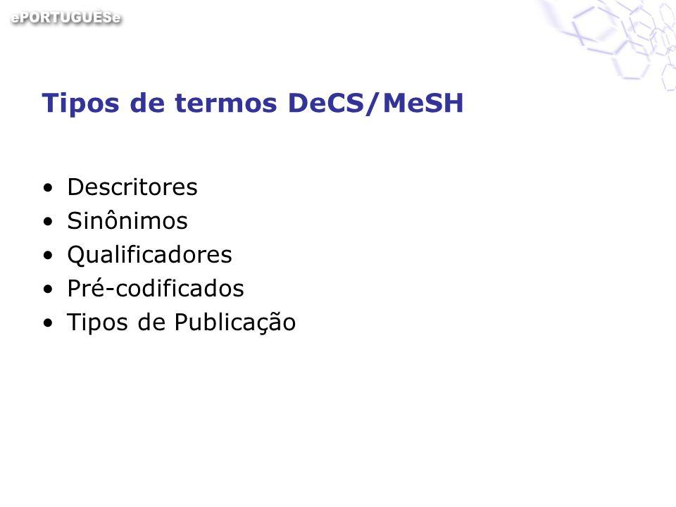 Serviços DeCS DeCS Server –para usuários Busca por Palavras –Palavra –Descritor Exato Busca por Índice –Alfabético –Permutado (ou KWIC, ie, KeyWord In Context) –Hierárquico (ou navegação hierárquica) DeCS XML Server –para aplicativos
