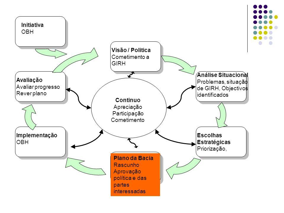 Continuo Apreciação Participação Cometimento Visão / Politica Cometimento a GIRH Análise Situacional Problemas, situação de GIRH, Objectivos identific