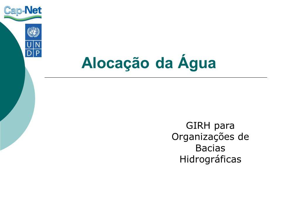 Alocação da Água GIRH para Organizações de Bacias Hidrográficas