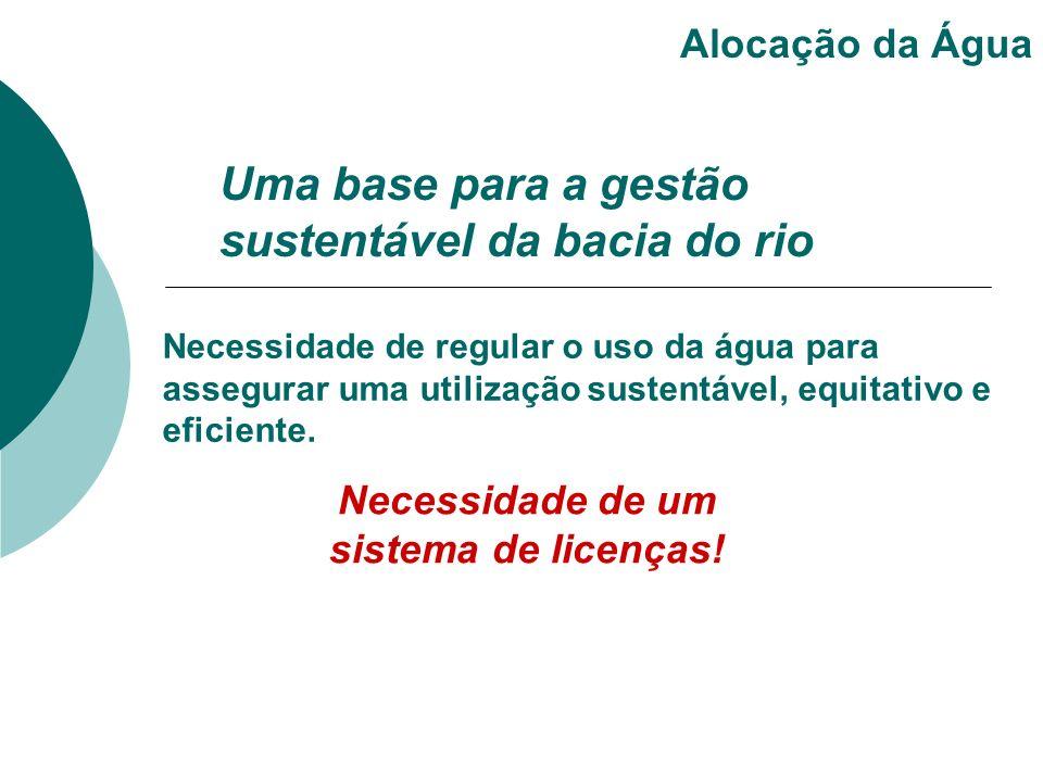 Uma base para a gestão sustentável da bacia do rio Alocação da Água Necessidade de regular o uso da água para assegurar uma utilização sustentável, eq