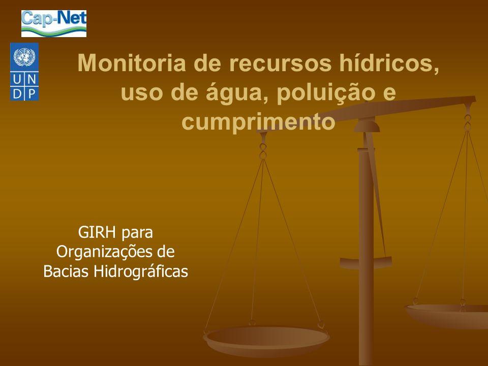 Monitoria de recursos hídricos, uso de água, poluição e cumprimento GIRH para Organizações de Bacias Hidrográficas