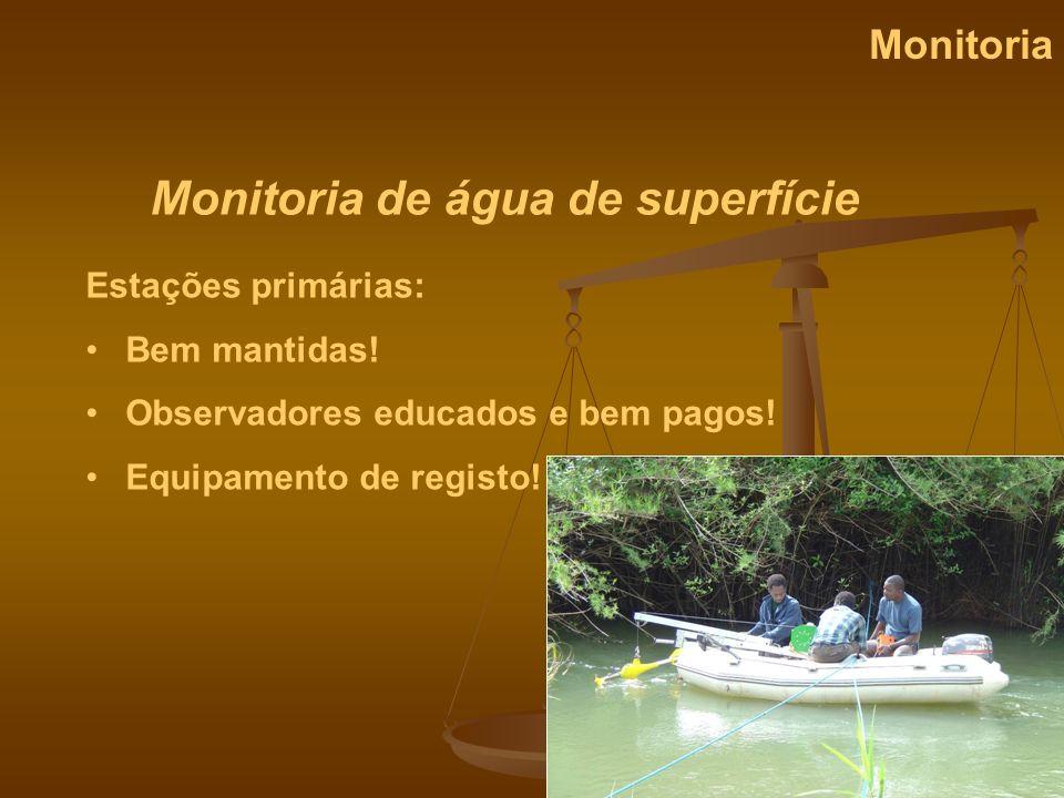 Monitoria de água de superfície Monitoria Estações primárias: Bem mantidas! Observadores educados e bem pagos! Equipamento de registo!