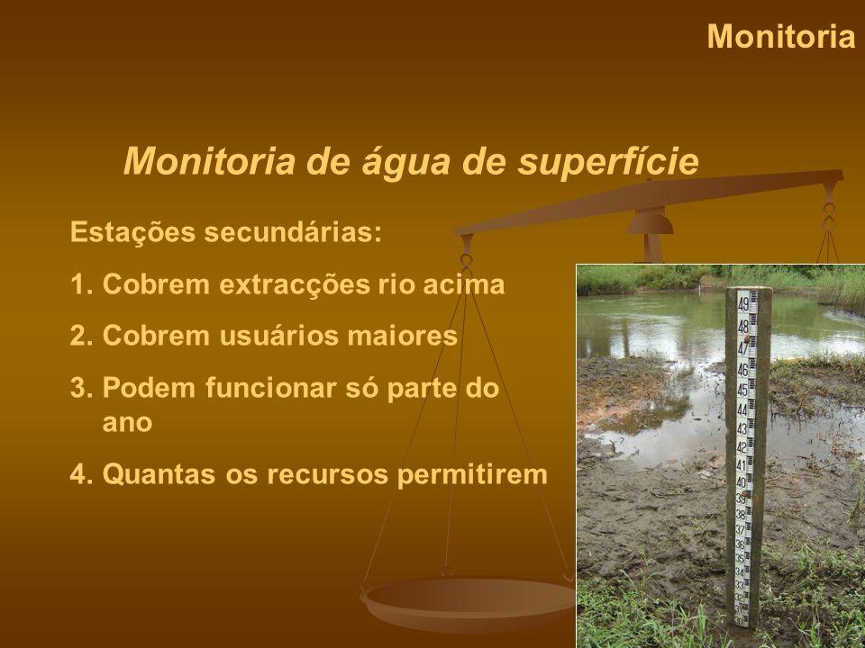 Monitoria de água de superfície Monitoria Estações secundárias: 1.Cobrem extracções rio acima 2.Cobrem usuários maiores 3.Podem funcionar só parte do