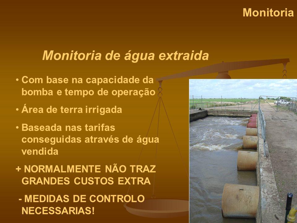 Monitoria de água extraida Monitoria Com base na capacidade da bomba e tempo de operação Área de terra irrigada Baseada nas tarifas conseguidas atravé