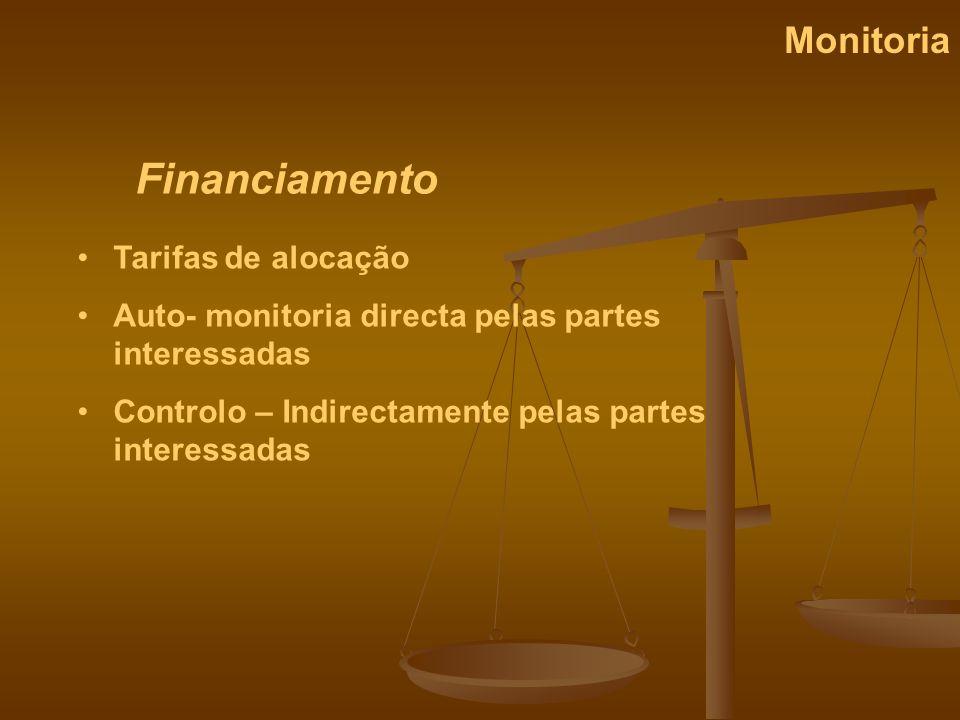 Financiamento Monitoria Tarifas de alocação Auto- monitoria directa pelas partes interessadas Controlo – Indirectamente pelas partes interessadas