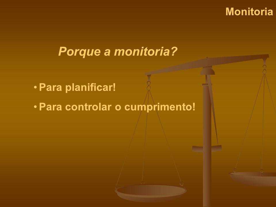 Financiamento Monitoria Primário - Governo Secundário – Indirectamente pelas partes interessadas Terciário - directamente pelas partes interessadas Na prática: um saco de dinheiro