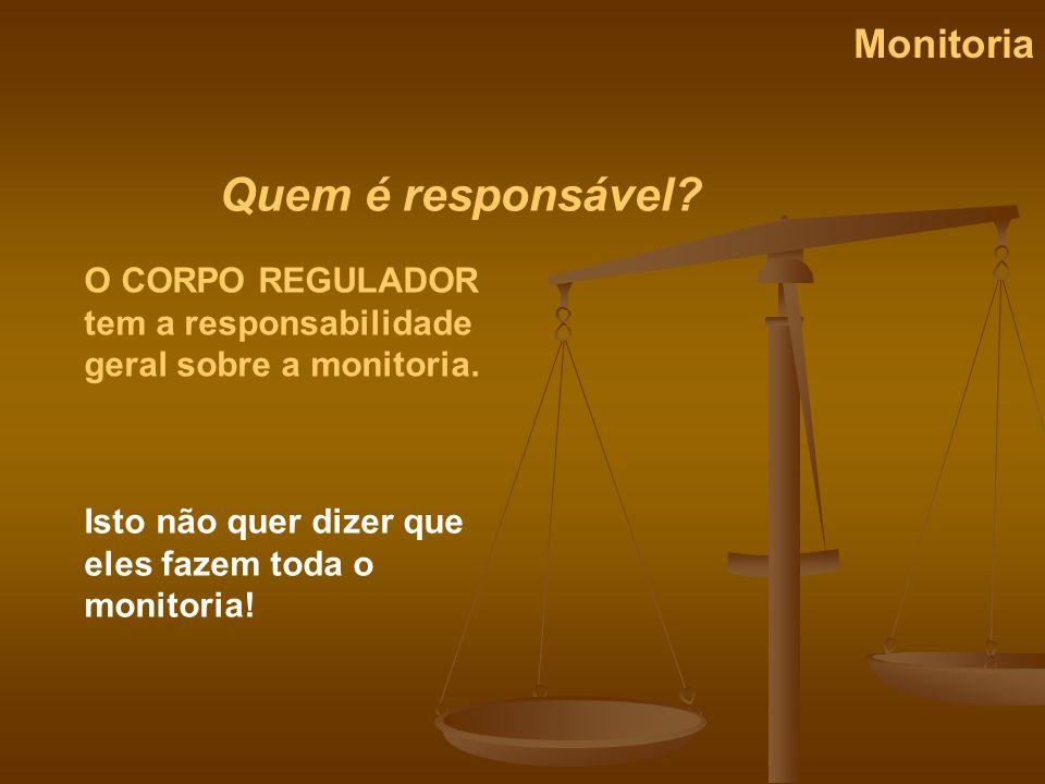 Quem é responsável? Monitoria O CORPO REGULADOR tem a responsabilidade geral sobre a monitoria. Isto não quer dizer que eles fazem toda o monitoria!